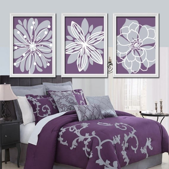 Purple Gray Floral Burst Wall Art Picture Prints Floral Bathroom Bedroom Decor+