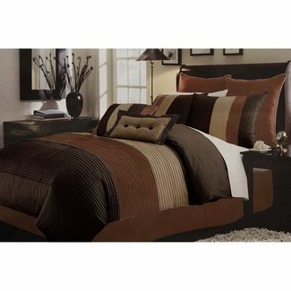 Regatta pintuck chocolate 8 piece comforter set