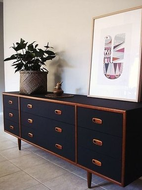 Retro danish style black teak sideboard dresser delivery options