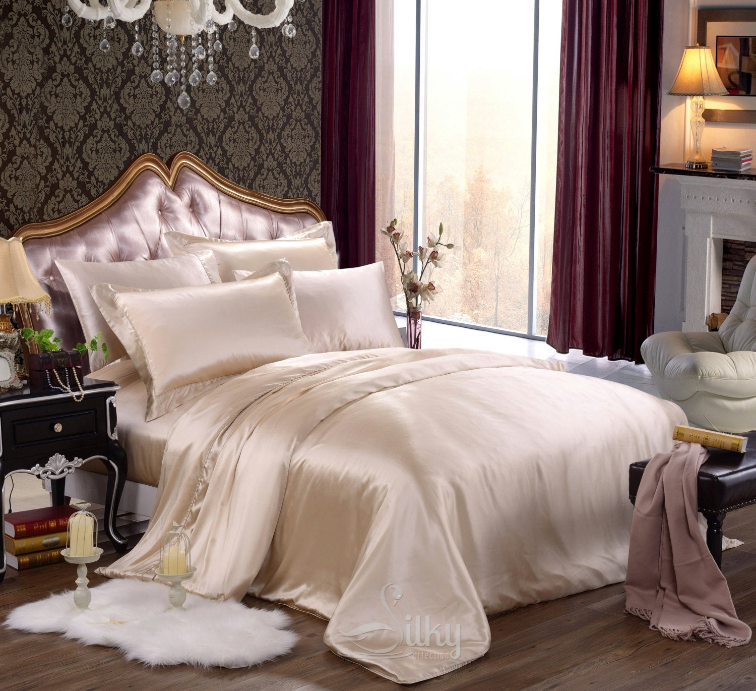 Sale Beige Champagne Silk Bedding Set