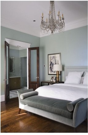 Settee Bench Such A Great Way To Furnish Your Modern Bedroom The White Bedding And Dark Stained Wood Floor Perfectly Complement Gray Blue Walls