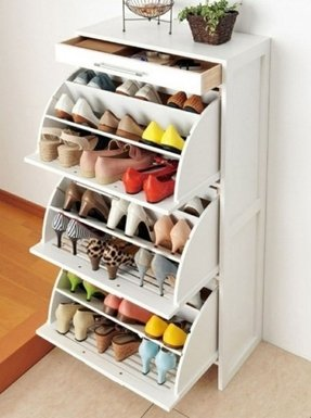 Shoe storage cabinets with doors