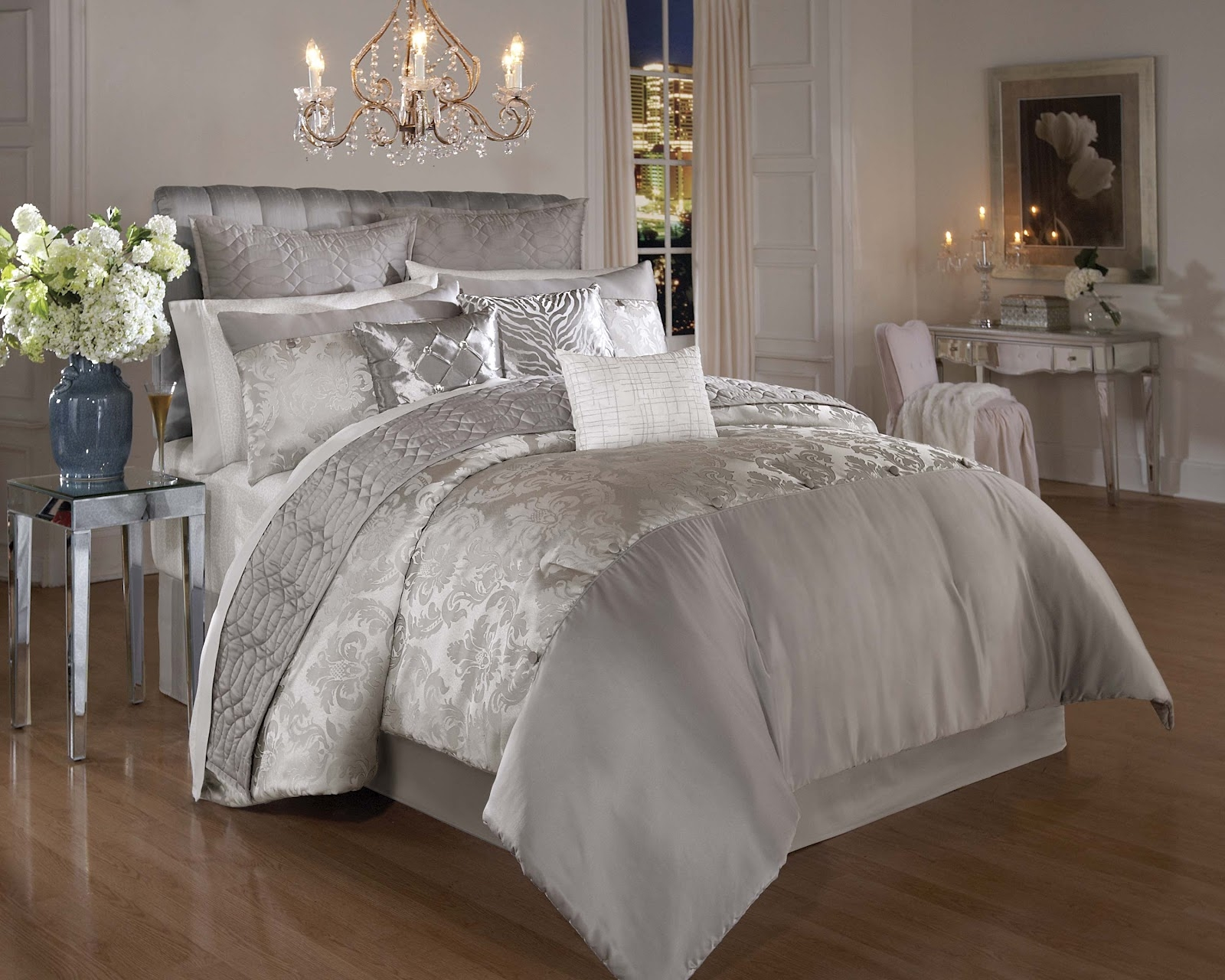 Luxury Silver Bedroom Set Painting