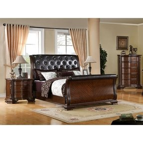 South Yorkshire Solid Wood Brown Cherry California King Size 6-Piece Bedroom Set