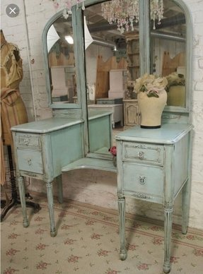 Vintage painted cottage aqua chic triple