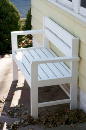 White outdoor benches