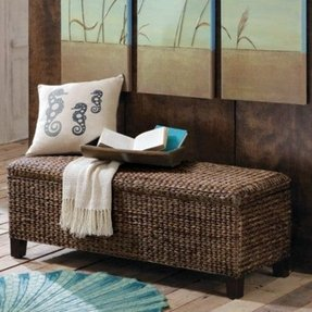 Wicker storage ottoman