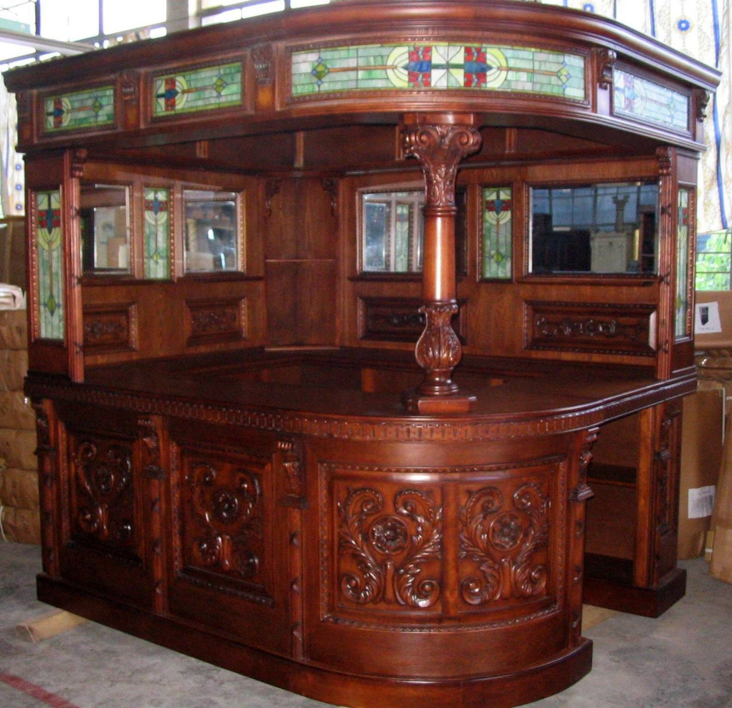 Antique Covered English Sty Corner L Home Bar Furniture Pub