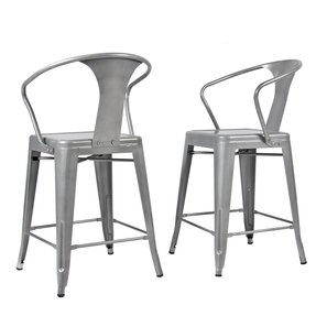 Best Choice Products® (2) Metal Bar Stools Vintage Antique Style Counter Bar Stool Arm Chair Silver