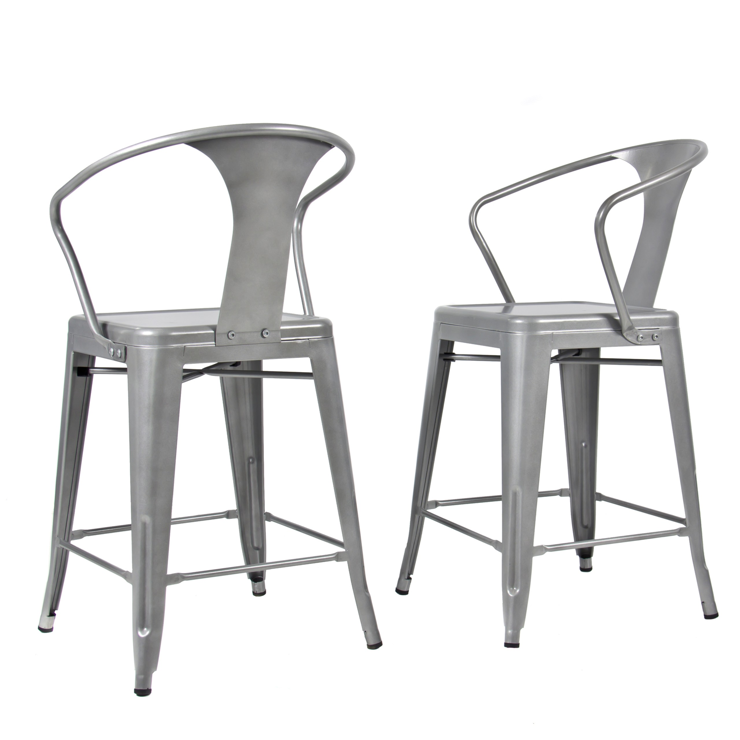 Best Choice Products® (2) Metal Bar Stools Vintage Antique Style Counter  Bar Stool