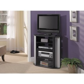 BUSH FURNITURE Bush Furniture Visions Corner TV Stand, Black/Silver