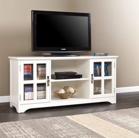 Easton White Media Console 50 Inch Flat Screen TV Stand Storage Cabinet  With Doors