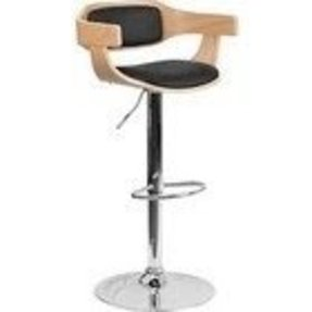 Flash Furniture Beech Bentwood Adjustable Height Bar Stool with Black Vinyl Upholstery, SD-2179-GG, SD 2179 GG, SD2179GG
