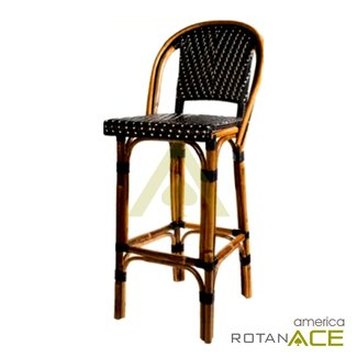 French Bistro Barstool With Back Black Cream Mediterranean Bar Stools