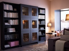 Glass door media cabinet