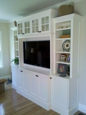 Media cabinets with glass doors