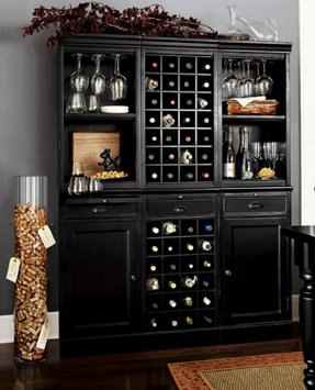 Modular bar with cabinet tower