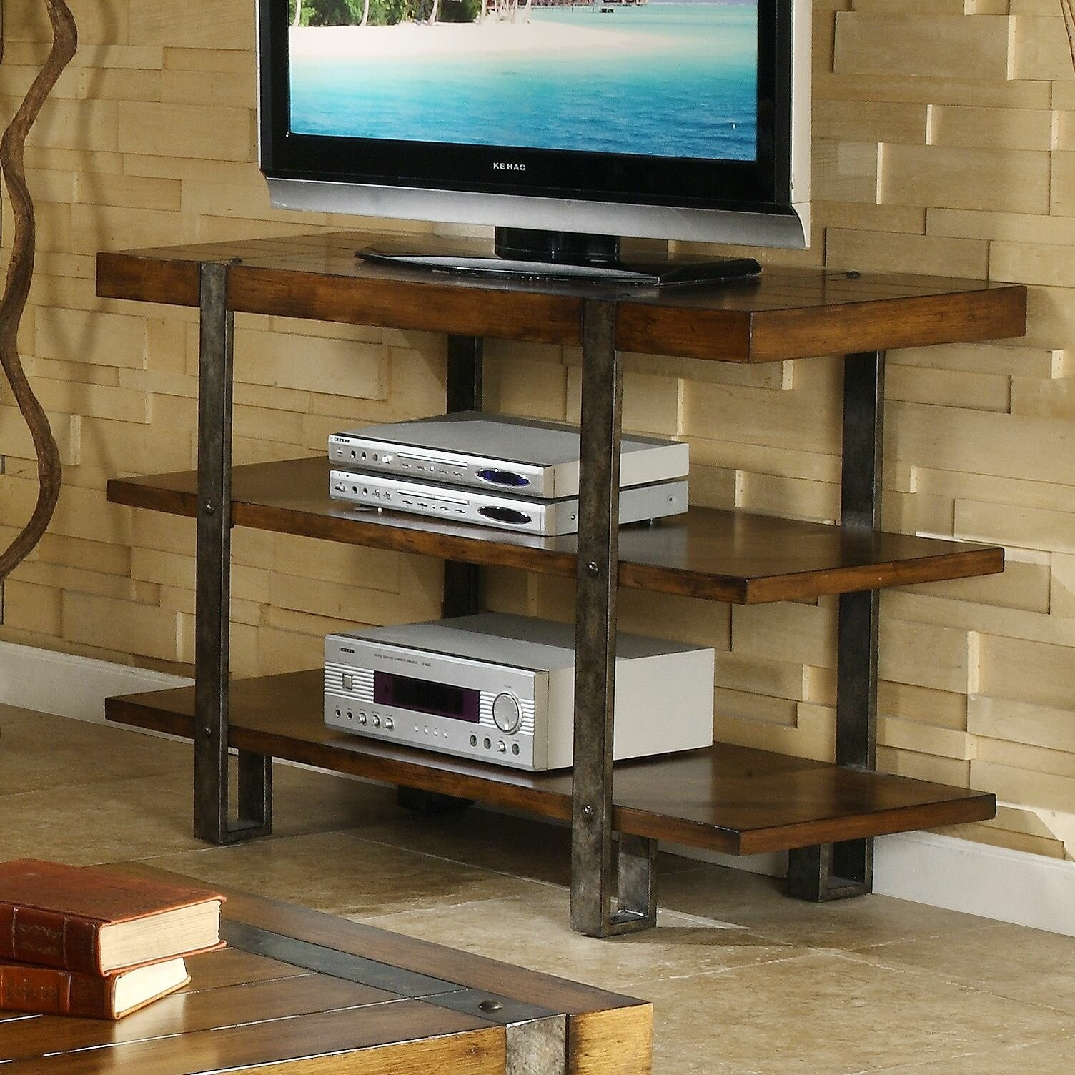 Rustic Wood And Metal Tv Stand Entertainment Center Shelf Console Table Decor