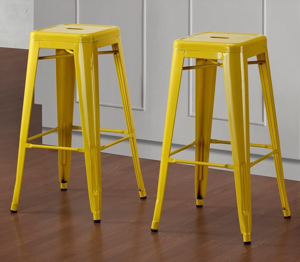Set Of 2 Yellow Tolix Style Metal Bar Stools In Glossy Powder Coated Finish