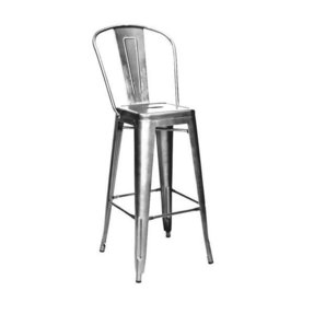 Tolix Style Clear Gunmetal Steel High Back Barstool Set Of 4