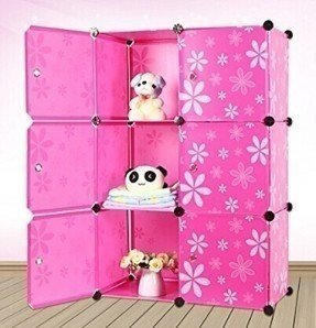 UCOOL DIY Plastic 6 Cube Organizer Bookcase Storage Cabinet Shelf Closet With Daisy Printing Door (Pink)