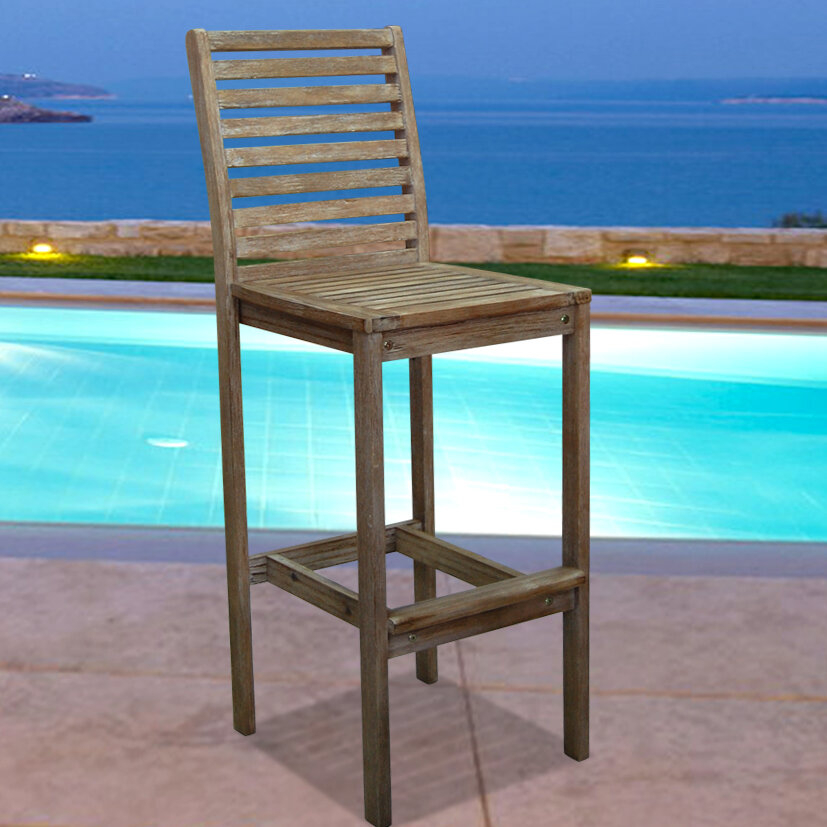 Marvelous Vifah V1354 Renaissance Outdoor Hand Scraped Hardwood Bar Chair