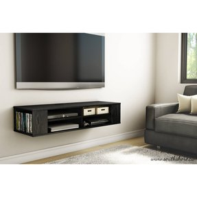 Wall Mounted Media Console Black Tv Stand Entertainment Center Floating