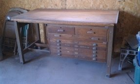 1946 hamilton antique oak drafting table