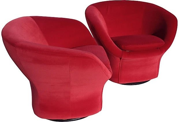 1960s Red Swivel Chairs Pair On