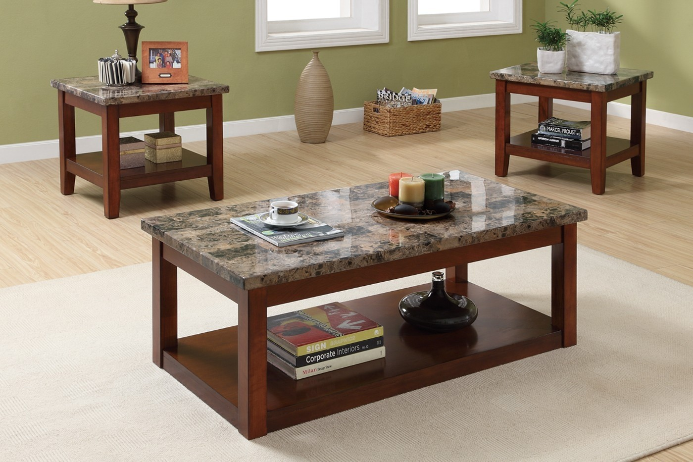 3pc Coffee Table and End Tables Set with Marble Top & Granite Top Coffee Table - Foter