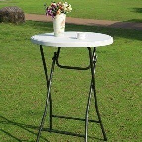 "Adeco White Plastic Folding Table Steel Legs Round 31"" Indoor Outdoor"