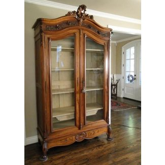 Antique french country bookcase cabinet china display carved dark oak