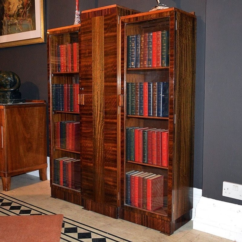 Bath cabinet makers fine art deco bookcase in queensland walnut