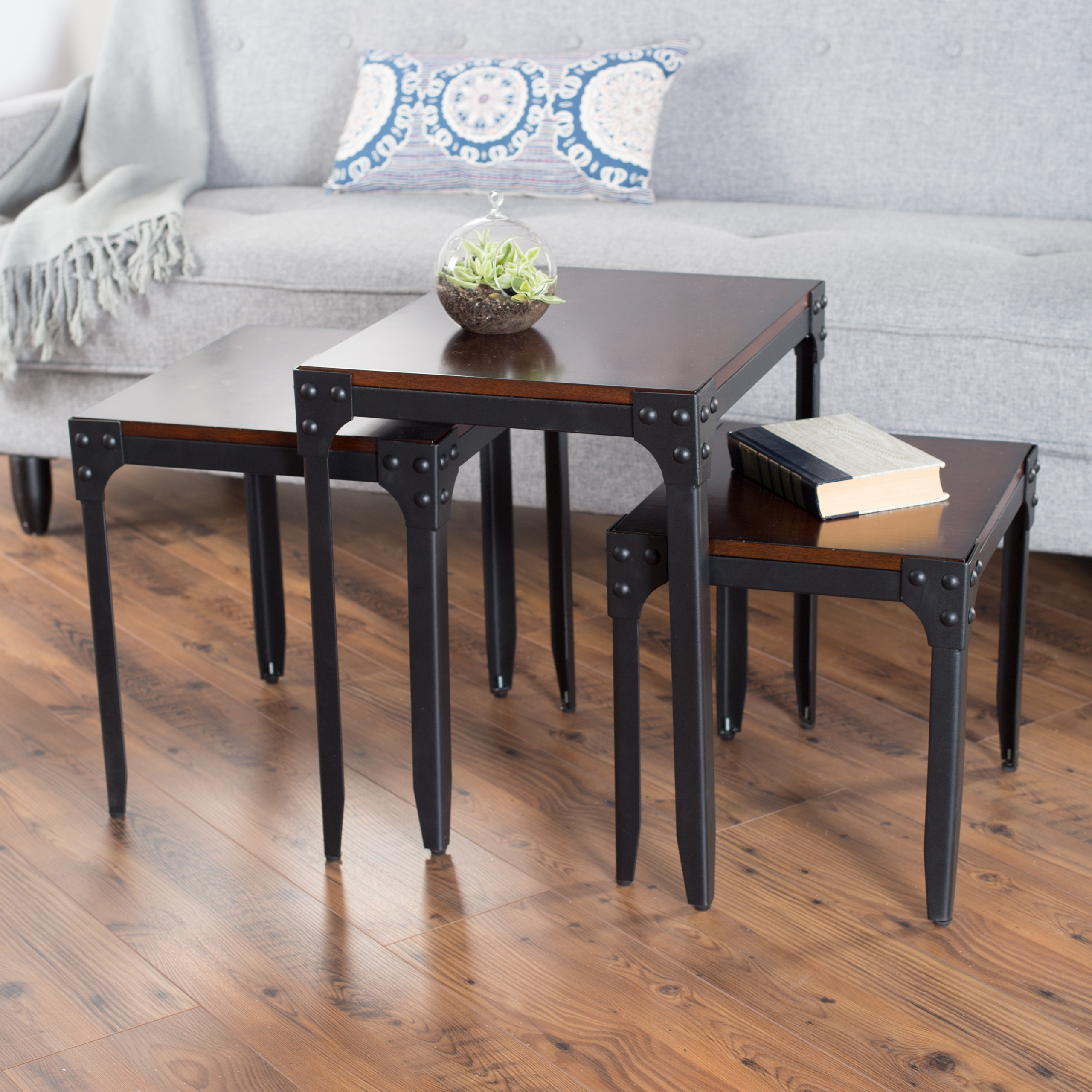 Belham Living Belham Living Trenton Industrial Nesting Table Set Wood Top & Small Size Coffee Tables - Foter