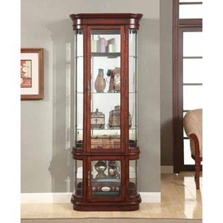 Brand New 28 X 14 76 H Vintage Look Cherry Wood Finish Curio Cabinet