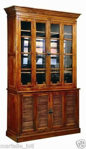 British colonial bookcase shuttered cabinet w glass doors solid oak