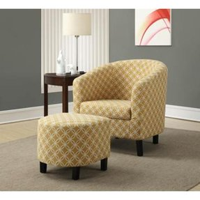"Burnt Yellow ""Circular"" Fabric Accent Chair/Ottoman"
