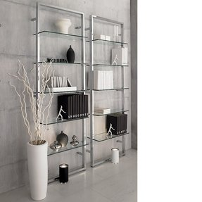Chrome and glass shelving units