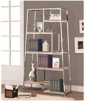 Chrome bookshelves