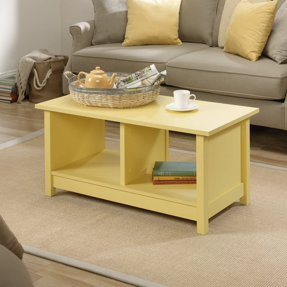 Coffee Table Mellow Yellow with Storage - Tables Sofa Console End Set Living Room Office Furniture & Yellow Coffee Tables - Foter