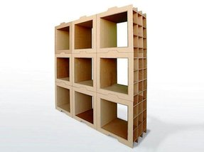 Diy modular cardboard recycling bookcases the cat would probably start