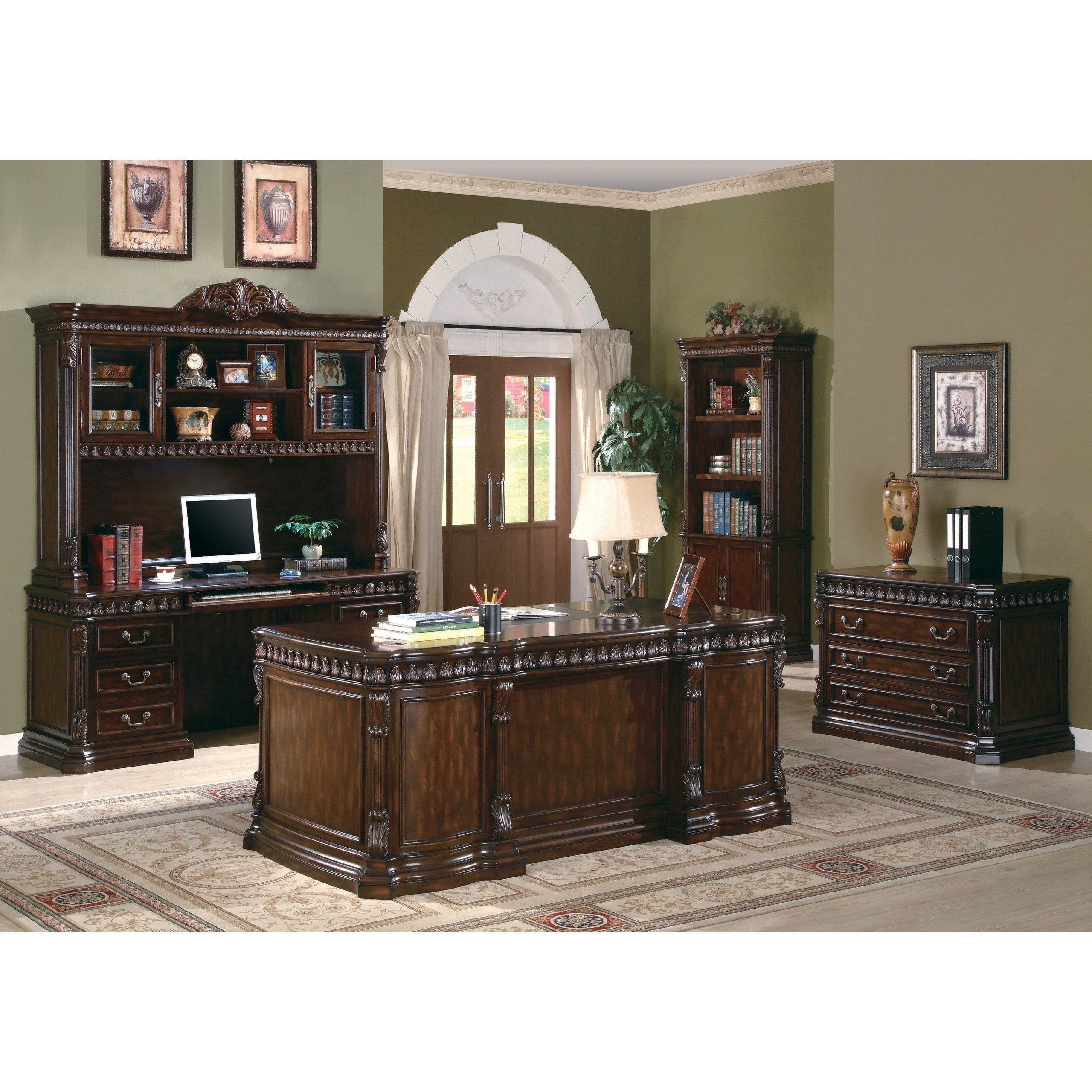 WINDSOR Brown Large Computer Home Executive Study Office Corner Desk Cupboard