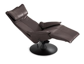 Fjords Contura 2010 Zero Gravity Recliner Chair in Premium Astro Line Black Leather Manual Black Base by Hjellegjerde - Standard Ground Curbside Delivery