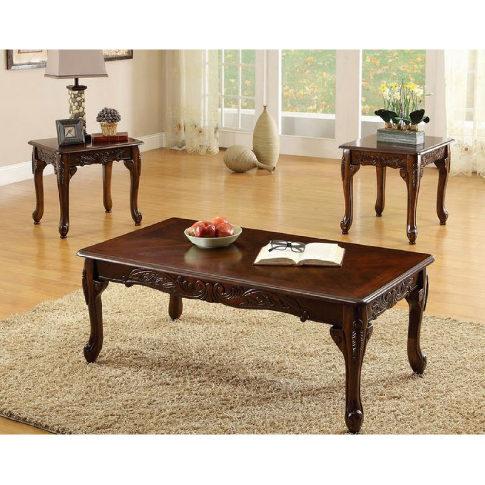 Merveilleux Fraser Old English Style Cherry Finish 3 Piece Coffee U0026 End Table Set