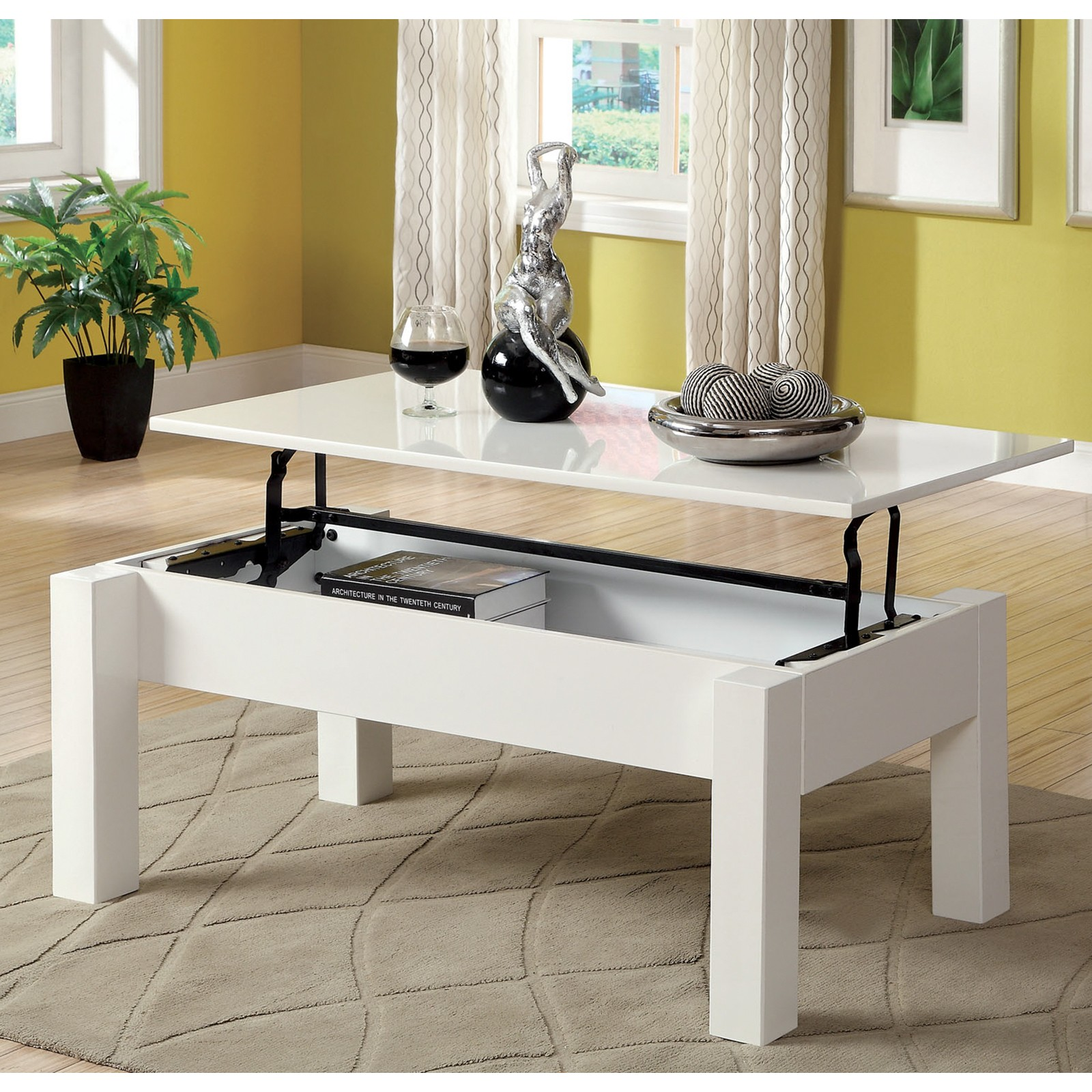 Furniture of America Luiza Contemporary Coffee Table with Lift-Top Storage White & White Top Coffee Table - Foter