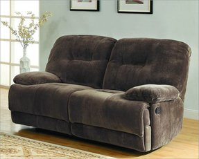 Geoffrey Collection Double Recliner Love Seat in Chocolate Champion Textured Plush Microfiber by Homelegance