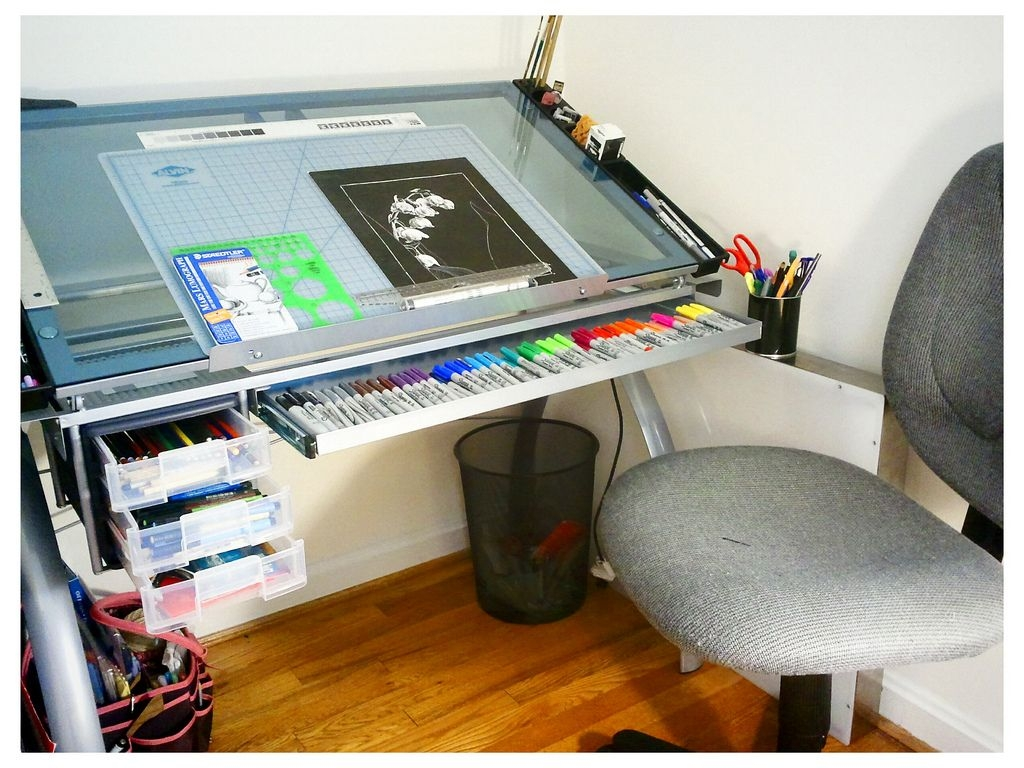 Genial Glass Top Drafting Drawing Table