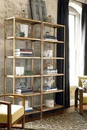 Gold bookcases