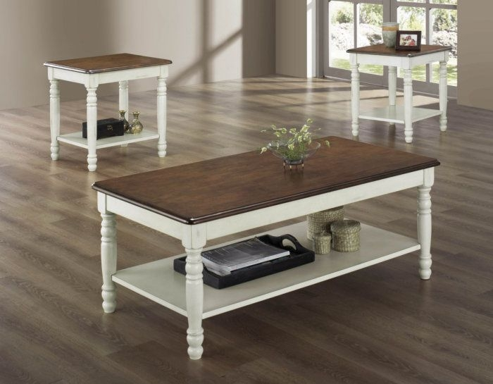 Homelegance Ohana 3 Piece Occasional Table Set in White and Cherry & White Coffee Tables - Foter