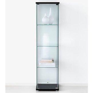 Ikea Detolf Gl Curio Display Cabinet Black Lockable Light And Lock Included